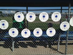 My friend and I made these for my son's baseball All Star Team this summer.  We hang them on the dug out or above their bat bags hanging on the fence.