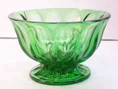 Anchor Hocking Fairfield Emerald Green Footed Glass Candy Bowl Vintage 1960's #AnchorHocking