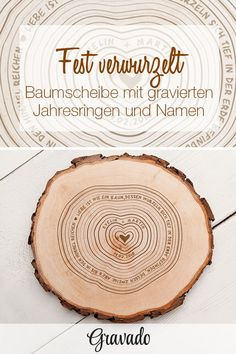 Baumscheibe mit Gravur – Jahresringe – personalisiert Love is like a tree, the roots of which are deep in the earth, but the branches of … Unusual Wedding Gifts, Best Wedding Gifts, Wedding Favors, Party Favors, Wedding Venues, Wedding Invitations, Top Wedding Trends, Tree Slices, Up To The Sky
