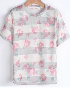 Apricot Short Sleeve Striped Floral T-Shirt - Sheinside.com