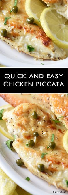 Easy Chicken Piccata - a simple and elegant dish of lightly pan-fried chicken fillets in a rich sauce of white wine, fresh lemon juice, and capers.