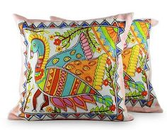 Cotton cushion covers, 'Madhubani Peacock' (pair) by NOVICA Madhubani Art, Madhubani Painting, Cushion Covers, Pillow Covers, Ethnic Decor, Indian Folk Art, Indian Crafts, Bath And Beyond Coupon, Fabric Painting
