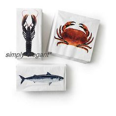 IKEA-Paper-Napkins-Ikea-Solfint-Summer-Nautical-pattern-Fish-Lobster-Wood-Crab
