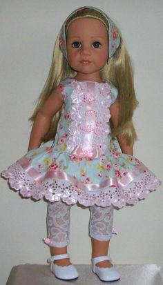 "Vintagebaby tunic leggings & alice band for 18"" dolls Designafriend/Gotz hannah"
