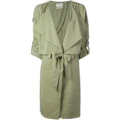 PARKA LONDON 'Maya' draped trench coat ($355) ❤ liked on Polyvore featuring outerwear, coats, jackets, dresses, green coat, pleated trench coat, drape coat, trench coat and draped trench coat