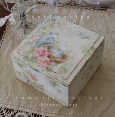 Shabby Romantic Bluebirds Roses and Nest Keepsake Box