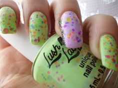 hey guys here is my manicures done with lush lacquer clowning around and green genie! http://mimimanicures.blogspot.co.uk/2013/04/want-some-neon-goodnesslook-no-further.html