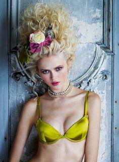 """Petit Trianon"": Anna Ilnytska as Marie Antoinette in Lingerie by Pascal Chevallier for Vanity Fair Italia"