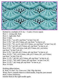 A stitch pattern - knitting Lace Knitting Stitches, Dishcloth Knitting Patterns, Knitting Charts, Sweater Knitting Patterns, Crochet Patterns, Creative Knitting, Stitch Patterns, Knits, Crocheting