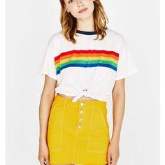 c47855b3cd1 Rainbow Print T Shirt Women 2018 White Cotton Harajuku Vegan Tumblr BTS  Kawaii Friends Bt21 Vintage