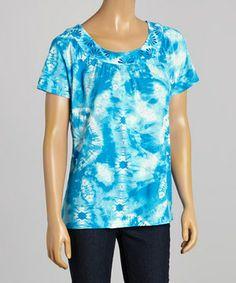 Another great find on #zulily! Caribbean Joe Aero Blue Tie-Dye Angel-Sleeve Tee - Women by Caribbean Joe #zulilyfinds