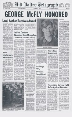 "Back to the Future part 2 - George McFly's ""Honored"" newspaper"