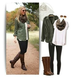 My go to this fall/winter. Green jacket, white blouse,  black jeans,  Brown boots, leopard scarf,  & shades.