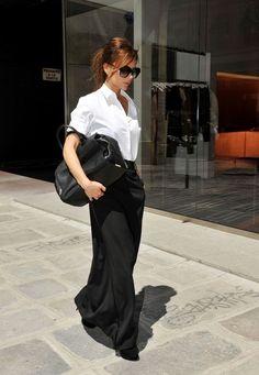 Victoria Beckham's Jil Sander Catharina Shirt And Maison Martin Margiela Long Tuxedo Skirt