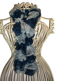 Navy and Grey Striped Team Spirit Scarf  Hand Knit by Shelly6262, $22.95