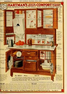 Vintage Hoosier Cabinet Ad: Let Hartman feather your nest. Vaisseliers Vintage, Vintage Decor, Vintage Furniture, Modern Furniture, Rustic Furniture, Garden Furniture, Vintage Music, Vintage Antiques, Primitive Kitchen