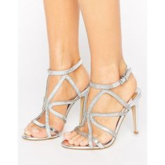 Faith Lohan Embellished Caged Heeled Sandals ($74) ❤ liked on Polyvore featuring shoes, sandals, silver, embellished sandals, embellished shoes, high heel sandals, high heeled footwear and metallic shoes