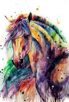 Horse Watercolor Painting Colorful Rainbow Portrait Canvas Print Decorative Art Wall Décor Artwork Wrapped Wood Stretcher Bars - Ready to Hang Handmade in The USA - Painted Horses, Watercolor Horse, Watercolor Paintings, Pastel Paintings, Watercolors, Horse Drawings, Art Drawings, Horse Artwork, Painted Pony