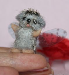 OOAK 1inch Polymer Clay Hedgehog - Fairy by Artist Natalya PhD Collectables