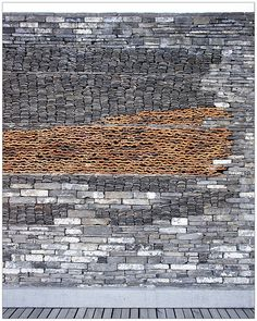 textured wall in a Building by Wang Shu, 2012 Pritzker Prize winner.