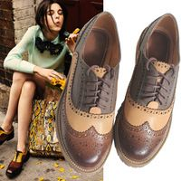 2014 Flats Oxfords Women's Brogues Shoes Genuine Leather Flat Cut-out British Wing Tip Freeshipping