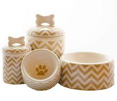 Creature Comforts Ceramic Dog Bowls & Treat Jars {Chevron Collection}