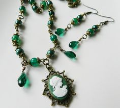 Jewelry set, Emerald green necklace, jewelry, pendant, gift for her, dangle earrings, emerald green earrings, drop, romantic jewelry