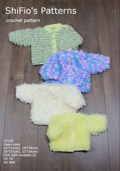 CP220 crochet pattern for baby childs loopy jackets in 4 sizes