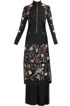 Black embroidered chintz jacket dress with palazzo pants available only at Pernia's Pop-Up Shop.