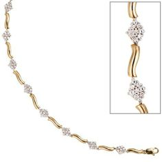 Damen-Armband 55 Diamant-Brillanten 14 Karat (585) Gelbgold 0.50 ct. 19 cm Dreambase, http://www.amazon.de/dp/B0097QYG30/ref=cm_sw_r_pi_dp_3cmjtb11A8M6J