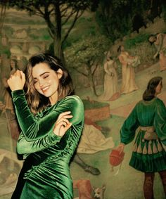 Jenna Coleman broadly smiling in emerald velvet long-sleeve bodycon dress before painting of similarly dressed & coiffed lady in pastoral setting