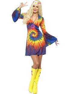 Tie Dye Hippie Hippy Fancy Dress Costume Go Go Flared