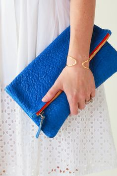 Claire V Blue Pebble Clutch | Perpetually Chic