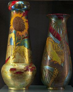 Zsolnay, Pécs, Eosin-Glaze Decorated Earthenware Vases. (1907-1910)