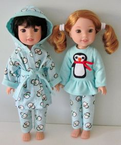 Penguin pajamas and robe PDF sewing pattern fits 14 dolls American Doll Clothes, Baby Doll Clothes, American Dolls, Doll Sewing Patterns, Doll Clothes Patterns, Sewing Ideas, American Girl Wellie Wishers, Wellie Wishers Dolls, Sewing Projects For Beginners