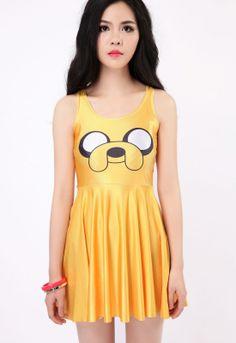 Yellow Smile Dog Fashion Skater Dress