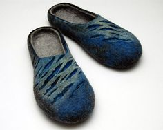 Felted slippers for men Blue waves Handmade home shoes by jurgaZa, $70.00