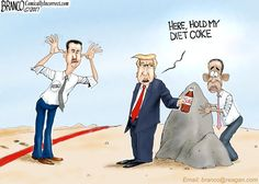 Unlike Obama, Trump followed through striking Syria when it crossed the red. ISIS, N.Korea and the world take heed. Political cartoon by A.F. Branco ©2017.