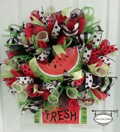 Summer Fun Watermelon Wreath. A refreshing way to welcome summer! www.Facebook.com/zsazsacraza