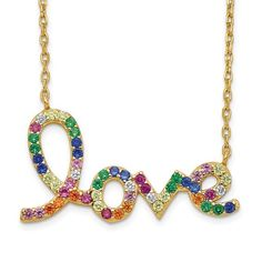 Prizma Sterling Silver Gold-tone 14k Flash-plated Colorful CZ Love with 2in ext Necklace / STYLE: QG5042GP-16