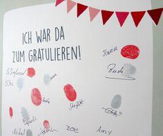 Zur Geburt, Taufe, Geburtstag, Konfirmation, Hochzeit, Jubiläumsfeier, ... – hier können sich alle großen und kleinen Gäste mit einem Fingerabdruck verewigen. Eine tolle Erinnerung für später, z....