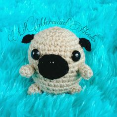 Crochet pug amigurumi Pugs, Mermaid, Snoopy, Knitting, Crochet, Handmade, Fictional Characters, Art, Ideas