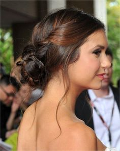 Nina Dobrev Sleek Updos Hairstyles 2015