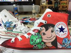Hand drawn Lilo and Stitch Shoes High-top Painted Canvas Shoes