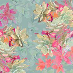 Aeonium Blue -original pattern design by Laura Olivia Art Floral, Floral Prints, Art Prints, Floral Design, Surface Pattern Design, Pattern Art, Textile Patterns, Print Patterns, Textiles