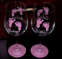 Baby footprint hand painted wine glasses by GlassesbyJoAnne