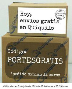 Gastos de envío gratis en Quiquilo este viernes 5 de julio de 2013 www.quiquilo.es