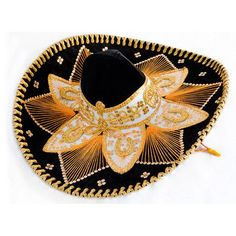 Cinco de Mayo Hats & Headwear Black and Gold Mariachi Sombrero Image Mariachi Hat, Mexican Mariachi, Mexican Party Supplies, Poncho Mexican, Party Table Centerpieces, Velvet Material, 50th Wedding Anniversary, Hats For Sale, Fiesta Party