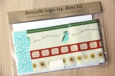 DIY Coffee Cup Sleeve Sewing Kit - Guess Who Owls and Turquoise Flowers - Ready to Ship by CraftyStaci