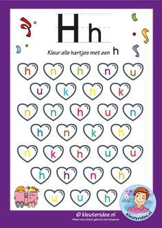 Pakket over de letter h blad 6, kleur alle hartjes met een h, letters aanbieden aan kleuters, kleuteridee, free printable.